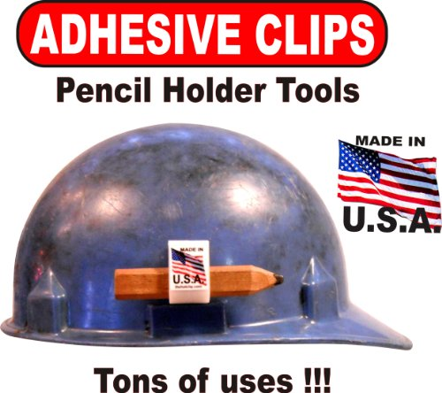 Hard Hat Adhesive Clips 50 PACK of WHITE PENCIL HOLDER TOOLS With Tons of Uses!