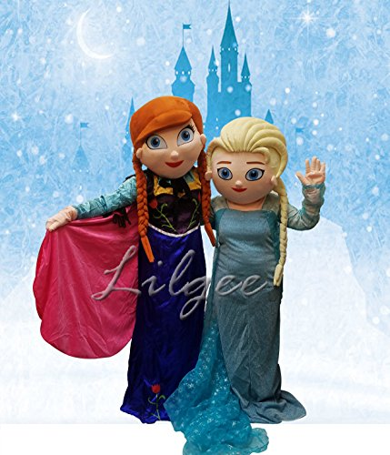 Frozen Anna and Elsa Adult Mascot Costume For Birthday Party Event Boy Girl Baby Adult Size (Frozen Elsa And Anna Costumes Adults)