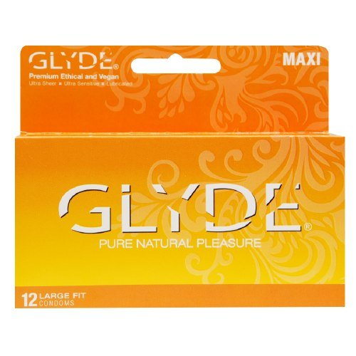 Premium Large Condoms - GLYDE MAXI 12 Count / Larger Condom with Extra Comfort, Sensitive & Strong - The #1 Natural Condom Brand by GLYDE