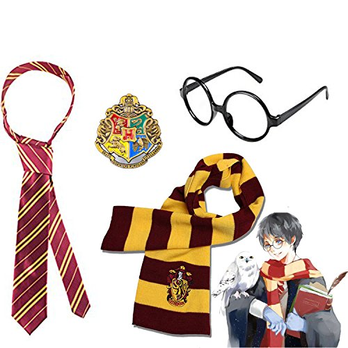 [Harry Potter Striped Knit Scarf Striped Tie with Novelty Glasses & College Badge for Cosplay Party Costumes College Accessories Kid's Gift, 4 PCS] (Kids Costumes Accessories)