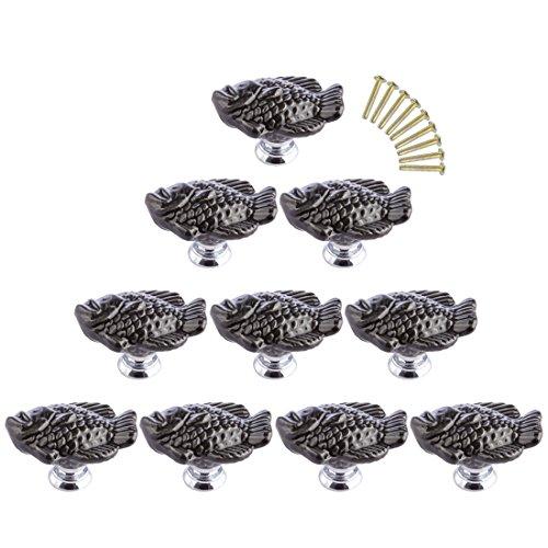 Drawer Knobs Fish (WOLFBUSH Animal Drawer Knobs, 10 Pack Black Ceramic Door Knobs Furniture Pull Handles for Dresser Cabinet Cupboard - Mandarin Fish Shape)
