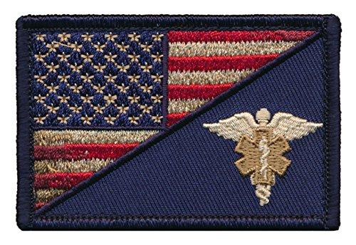 Patch Squad Men's USA Flag/ EMT Caduceus Morale Patch (Distress) (Paramedic Costume)