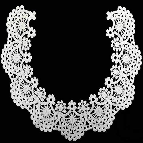 1pc White/Black Circular Beautiful Embroidery Lace Fabric DIY Lace Collar Fabric for Sewing Supplies Craft (White)