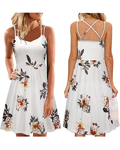 (ULTRANICE Women's Summer Floral Sleeveless Adjustable Spaghetti Backless Short Dress(Floral05,M))
