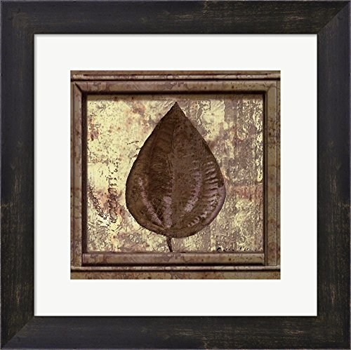 (Classic Leaf Square IV by Pierre Fortin Framed Art Print Wall Picture, Espresso Brown Frame, 13 x 13 inches)