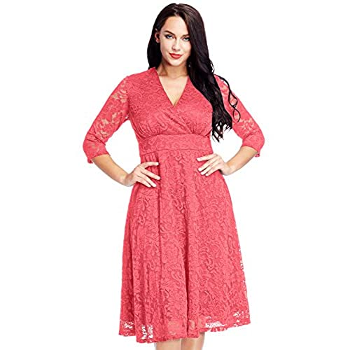Lookbook Store Womens Coral Lace Mother Of The Bride Bridal Dress 28W