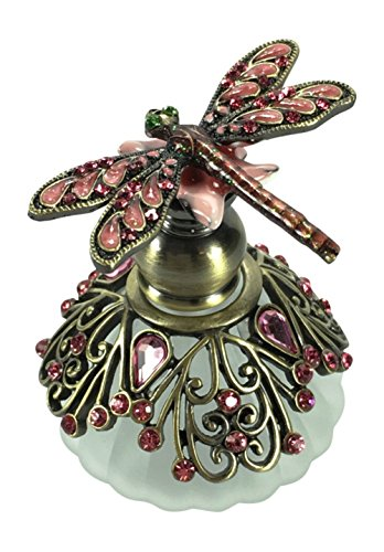 Bejeweled Pink Dragonfly Perfume Bottle by Welforth 2.25 Tall