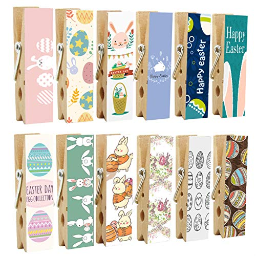12pcs Easter Refrigerator Magnet Clips by Cosylove-Decorative Magnetic Clothespins Made of Wood with Easter Patterns-Fridge Magnets Display Photos,Memos, Lists, Calendars (Easter)