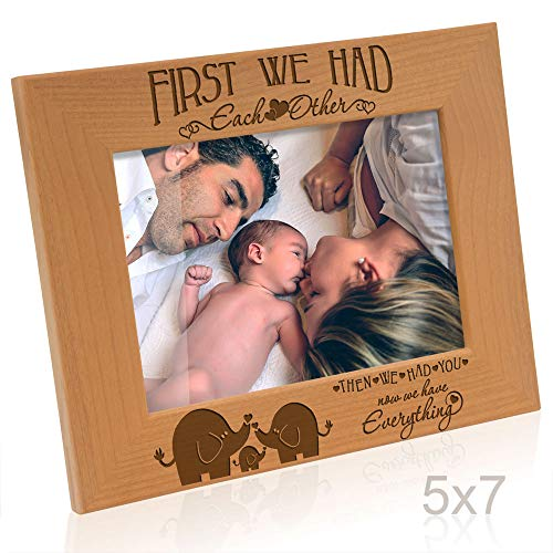Kate Posh - First we had each other, then we had you, now we have Everything - Engraved Natural Wood Picture Frame, New Baby Gifts, Elephants Decor (5x7-Horizontal)