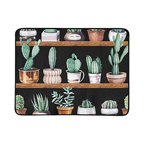 (ZXWXNLA Watercolor Cactus and Succulent Seamless Vintage Pattern Portable and Foldable Blanket Mat 60x78 Inch Handy Mat for Camping Picnic Beach Indoor Outdoor Travel)
