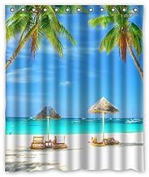 Creative Bath Products Ocean Theme Summer Beach Palm Tree Shower Curtain