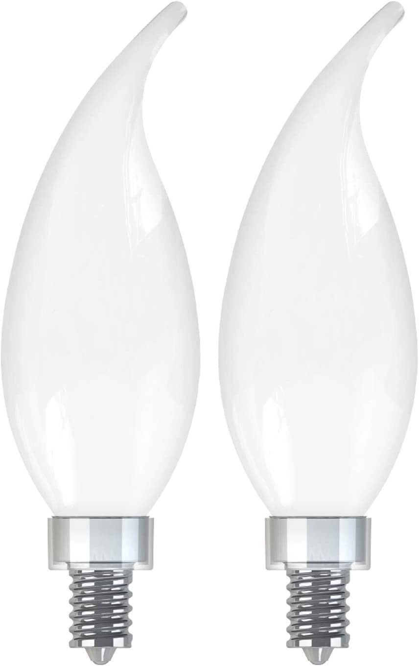 GE Lighting 36988 Frosted Finish Light Bulb Relax HD Dimmable LED Decorative 5.5 (60-Watt Replacement), 500-Lumen Candelabra Base Bent Tip, 2-Pack, Soft White, 2