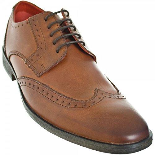 Base London Alcaravea Hombre Canela Ceroso Zapatos De Cuero Calado Marrón - canela