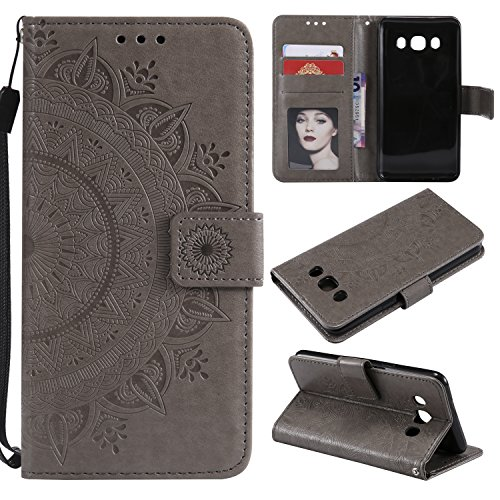 Galaxy J7 2016 Floral Wallet Case,Galaxy J7 2016 Strap Flip Case,Leecase Embossed Totem Flower Design Pu Leather Bookstyle Stand Flip Case for Samsung Galaxy J7 2016-Grey by Leecase