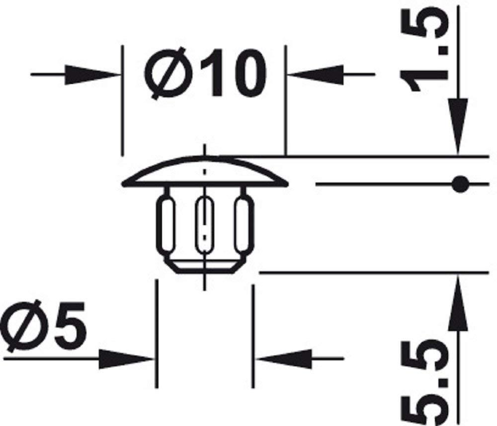 Gedotec Schrauben-Kappe schwarz RAL 9005 Schrauben-Abdeckungen zum Eindr/ücken Blindstopfen Kunststoff M/öbel-Abdeckkappen rund f/ür Blindbohrung 100 St/ück H1120 /Ø 5 mm