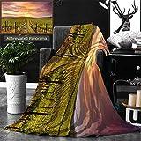 Ralahome Unique Custom Double Sides Print Flannel Blankets Napa Valley Vineyards Autumn Sunrise