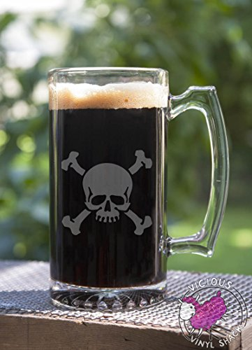 Skull and Crossbones Traditional Skeleton and Teeth 24 oz Etched Glass Stein Beer Mug with Handle Bones Danger Achtung Warning Adviso Poison Danger Death Halloween Pirate Ship