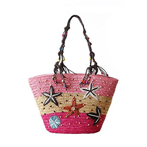 Meaeo Las Mujeres Bolsos De Playa En Verano, Bolsas De Paja Starfish Femenina Popular Bolso Casual Lady Travel Tejer Tote,Verde Red