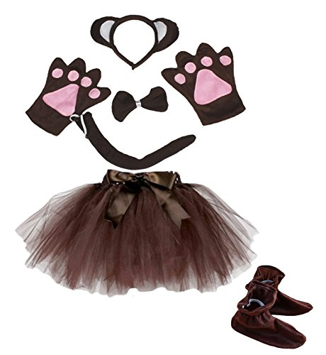 [Monkey Headband Bowtie Tail Gloves Shoes Brown Tutu 6pc Girl Costume for Party (One Size)] (Monkey Costumes For Girl)