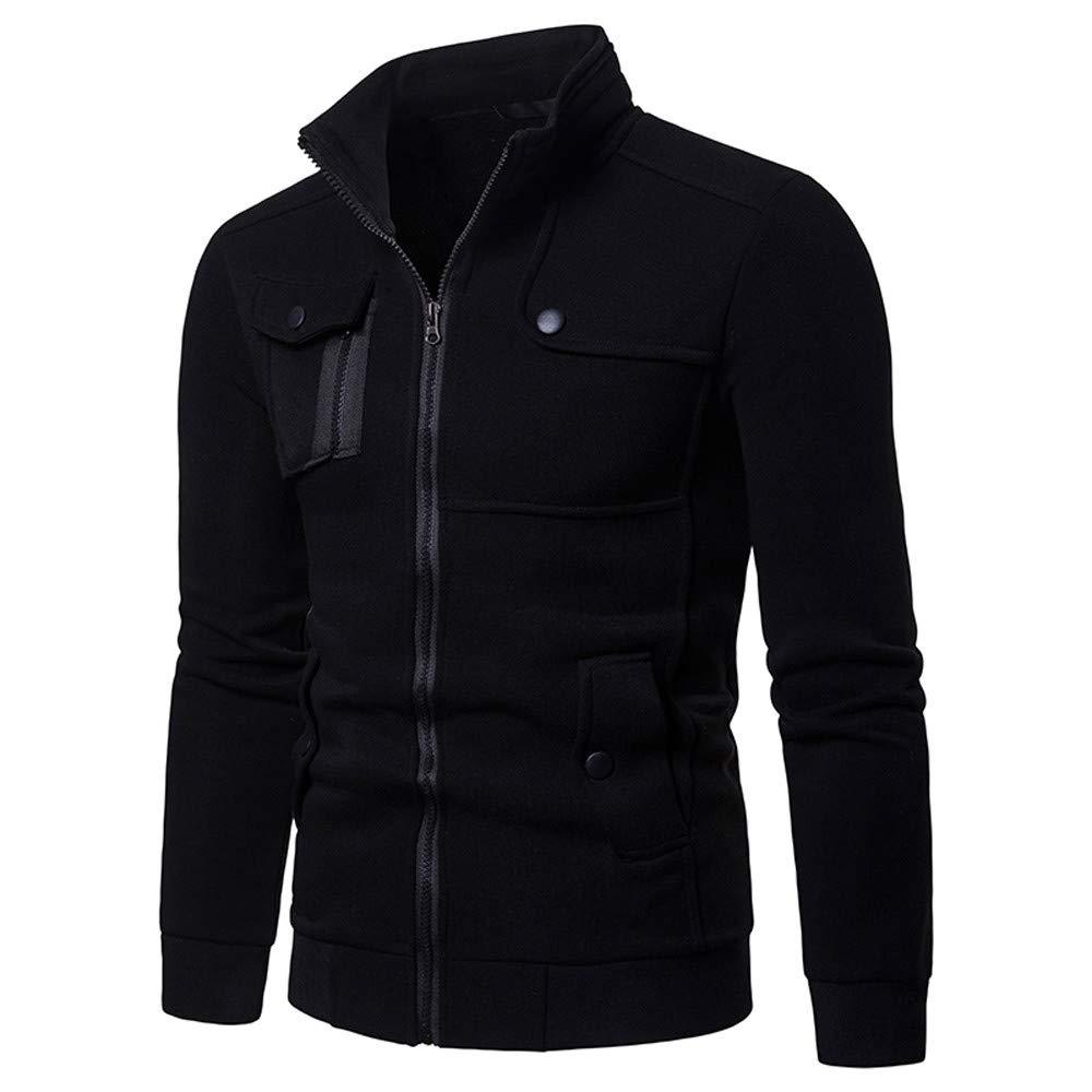 Ximandi Clearance,Mens Zipper Pocket Splicing Sweatshirt Solid Long Sleeve Slim Fit Coat