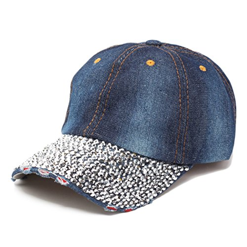 Raylans Women Men Adjustable Rhinestone Studded Bling Tennis Baseball Cap Sun Cap Hat,5# ()