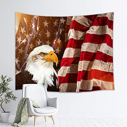 DYNH United States Flag Tapestry Wall Hanging Art, North American Bald Eagle with American Flag Patriotic Concept, Wall Blanket Beach Towels Home Decor for Bedroom Living Room Dorm, 60X40 Inches