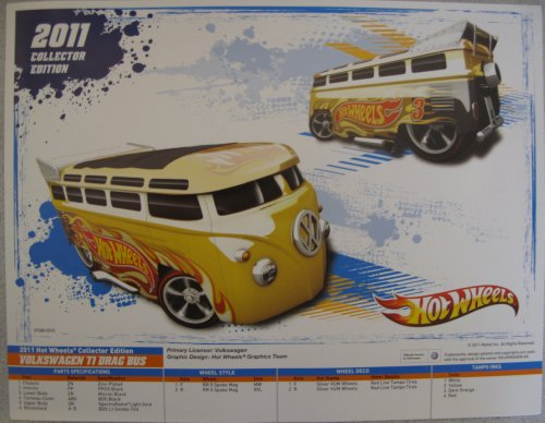 Hot Wheels 2011 Collector Edition Volkswagen T1 Drag Bus Poster