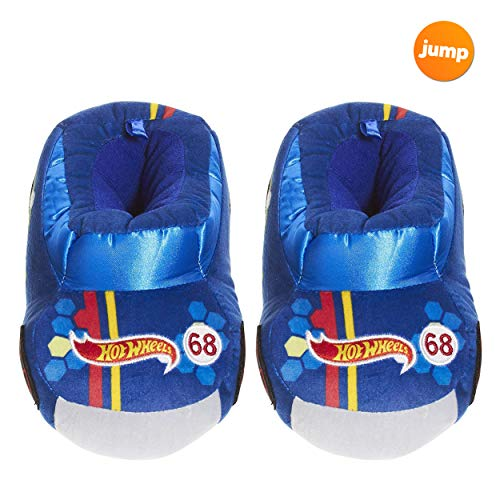 Hot Wheels Race Car Slippers for Kids; Acrylic Sole Toddler Slippers Blue]()