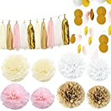 Kubert 35pcs Pink white Ivory Gold Tissue Paper Pom Pom Tissue Pom Pom Paper Tassel Garland Polka Dot Tissue Poms Paper Garland for Baby Shower Decoration Bridal Shower Pink Gold First Birthday