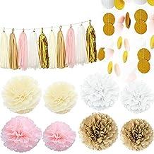 Kubert 35pcs Pink white Ivory Gold Tissue Paper Pom Pom Tissue Pom Pom Paper Tassel Garland Polka Dot Tissue Poms Paper Garland for Baby Shower Decoration Bridal Shower Pink Gold First Birthday