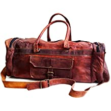 "26"" Men's Genuine Leather Vintage Duffle Gym Large Travel Weekend Haldall Carry-on Luggage Bag"