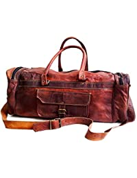 "26"" Men's Genuine Leather Vintage Duffle Gym Large Travel Weekend Haldall Carry-on Luggage Bag"