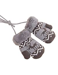 1 Pair Baby Winter Gloves with String [Deer] Ideal Baby Gift