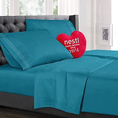 Queen Size Bed Sheets Set Teal, Highest Quality Bedding Sheets Set on Amazon, 4-Piece Bed Set, Deep Pockets Fitted Sheet, 100% Luxury Soft Microfiber, Hypoallergenic, Cool & Breathable