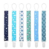 Baby Pacifier Clip Holder - 6 Pack Teething Ring Toys Pacifier Leash Stylish Shower Gift Set by Yoofoss