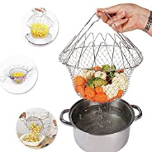 i-Auto Time Fry French Chef Basket,Colanders & Food Strainers Foldable Steam Rinse Strain Magic Stainless Steel Strainer Net Basket for Home Kitchen Cooking