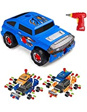Virhuck 36 Pieces Take Apart Toy Car for Kids Gifts, Assemble Off-Road Vehicle, with Electric Tool Drill Play Tools, 4 Kinds of Combinations, STEM Education Car Toys for Children - Orange Blue