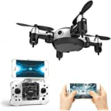 Jaanly MINI Foldable RC RTF Quadcopter 2Pocket Drone 4CH UAV R/C.4Ghz 6-Axis Gyro 360 Gegree Airselfie Aircraft Altitude Hold Wifi Real Time FPV 0.3MP Camera Helicopter Black