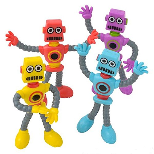 """3.5"""" Bendable Robot, Assorted Colors and Styles, one dozen"""