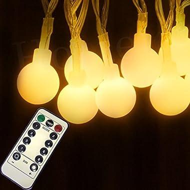 Homeleo Battery Operated Globe String Lights, 8 Lighting Modes Dimmable Remote Ball Fairy Light for Christmas Wedding Bedroom Living Room Decoration(16.4ft,50leds)