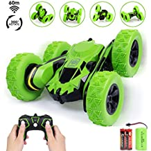 iFixer Stunt RC Car, 3D Deformation Car Toy, 2.4G Remote Control Vehicle Spining Flip Flash Double Sided 360°Rolling Rotating Rotation for Kids Birthday Festival Present Gift, Green