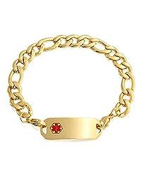Bling Jewelry Mens Steel Medical Alert Red Enamel Bracelet 8.5in Gold Plated Free Engraving