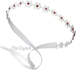 2554c70a87c9 White Flower Wrap with Red Swarovski Rhinestones