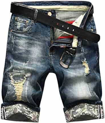 b7e1539a9d Oberora-Men Summer Mid Waist Holes Denim Knee Length Shorts Pants Jeans