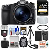 Sony Cyber-Shot DSC-RX10 IV 4K Wi-Fi Digital Camera 64GB Card + Backpack + Flash + Battery & Charger + Tripod + Filter Kit