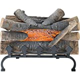 Electric Fire Crackle Log with a Grate and Glowing Ember Bed with Sound Effects by Pleasant Hearth