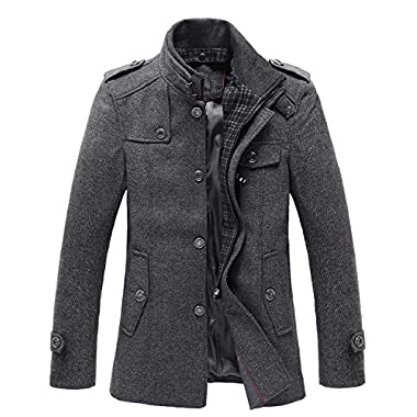 Match Mens Wool Classic Pea Coat Winter Coat (US XL/CN 3XL (Fit 42 -44 ), Dark gray-Thin)