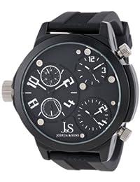 Joshua & Sons Men's JS-40-WT Quartz Triple Time Zone Rubber Strap Watch