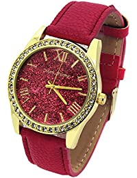 Ladies Gold Tone Red Glitter Dial Leather Band Fashion Casual Quartz Wrist Watch Watches Mark N