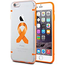 Apple iPhone Ultra Thin Transparent Clear Hard TPU Case Cover Leukemia Cancer Multiple Sclerosis Kidney Cancer Color Awareness Ribbon (Orange For iPhone 7 Plus)